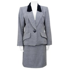 Early 1980s Yves Saint Laurent/YSL Houndstooth Skirt Suit