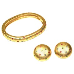 Early 1990's Bangle and Clip Earrings Suite by Swarovski