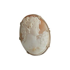 Early 1990s Cameo Lapel Brooch by Love and Object in Shell and 9k Gold