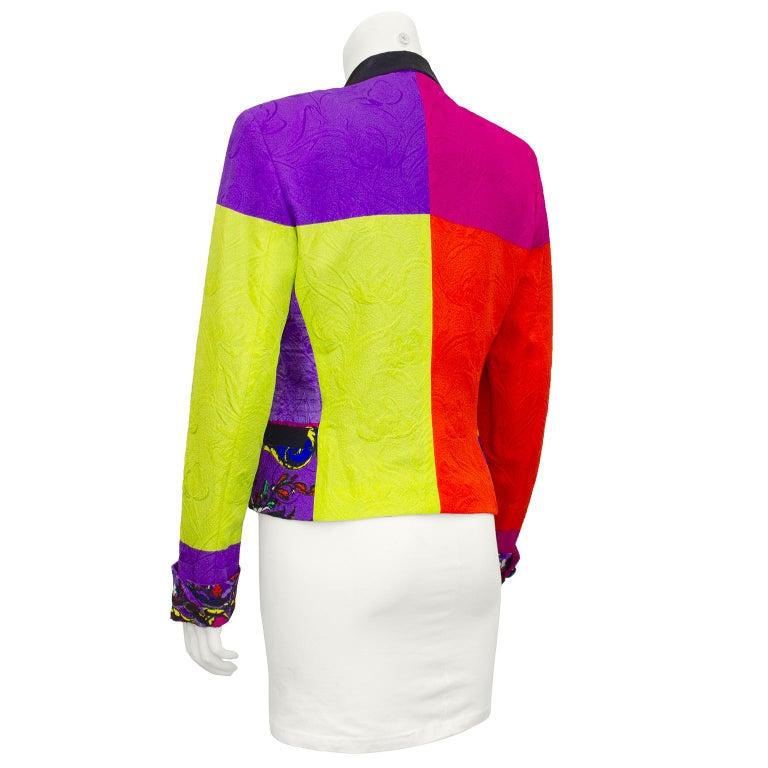 Purple Early 1990s Gianni Versace Baroque Colour Block Tuxedo Jacket For Sale