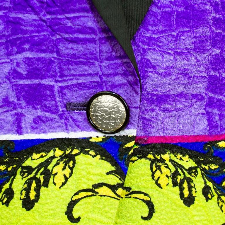 Women's Early 1990s Gianni Versace Baroque Colour Block Tuxedo Jacket For Sale