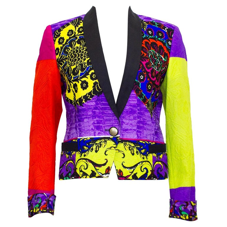 Early 1990s Gianni Versace Baroque Colour Block Tuxedo Jacket For Sale