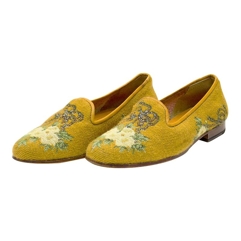 Early 1990s Stubbs and Wooton Floral Pattern Needlepoint Slippers