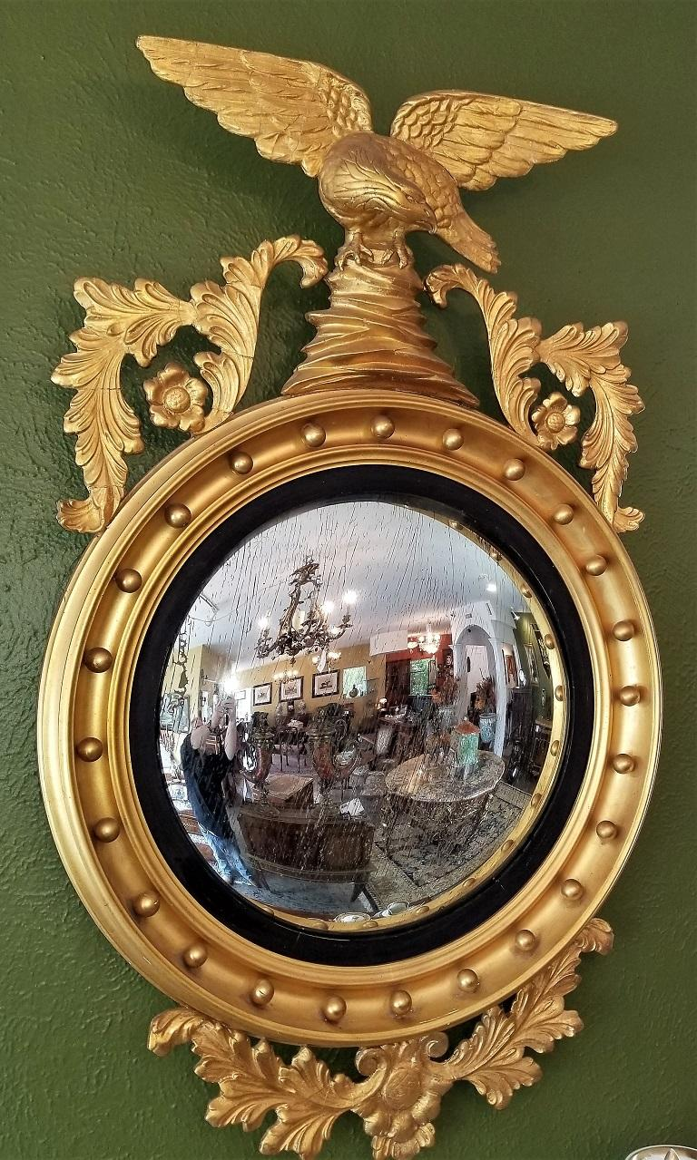 Hand-Carved Early 19th Century Federal Eagle Wood and Gesso Gilded Convex Mirror For Sale
