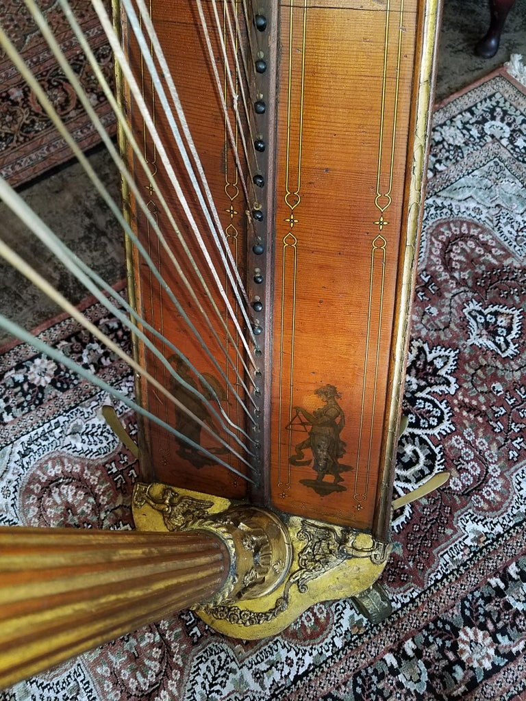 Satinwood Mid 19th Century T. Dodd & Sons London Harp For Sale