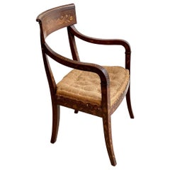 Early 19th Anglo-Dutch Mahogany and Parquetry Regency Open Armchair