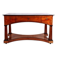 Early 19th Century Biedermeier Satinwood 3-Drawer Gentleman's Writing Desk