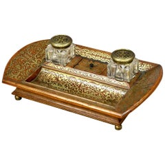 Early 19th Century Brass Inlaid Desk Inkstand
