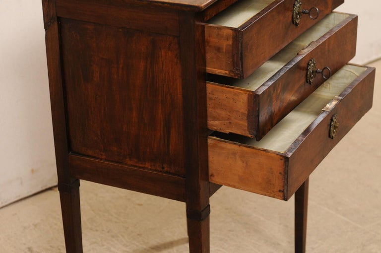 19th Century French 3-Drawer Side-Chest Nicely Raised on Tapering Squared Legs For Sale