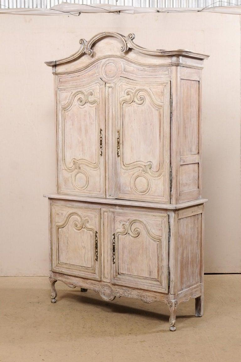 Early 19th C. French Buffet à Deux-Corps Cabinet w/ Scrolling Pediment Bonnet For Sale 5