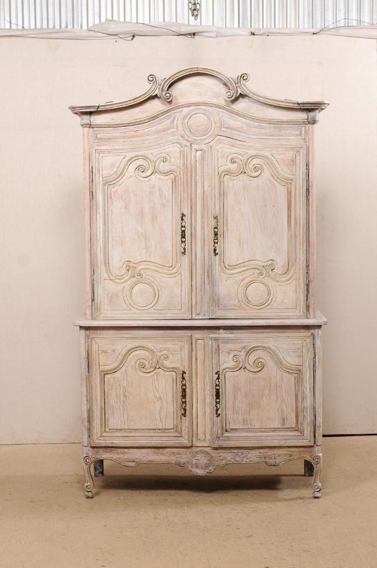 Early 19th C. French Buffet à Deux-Corps Cabinet w/ Scrolling Pediment Bonnet For Sale 6