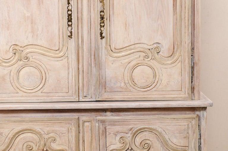 Early 19th C. French Buffet à Deux-Corps Cabinet w/ Scrolling Pediment Bonnet For Sale 7