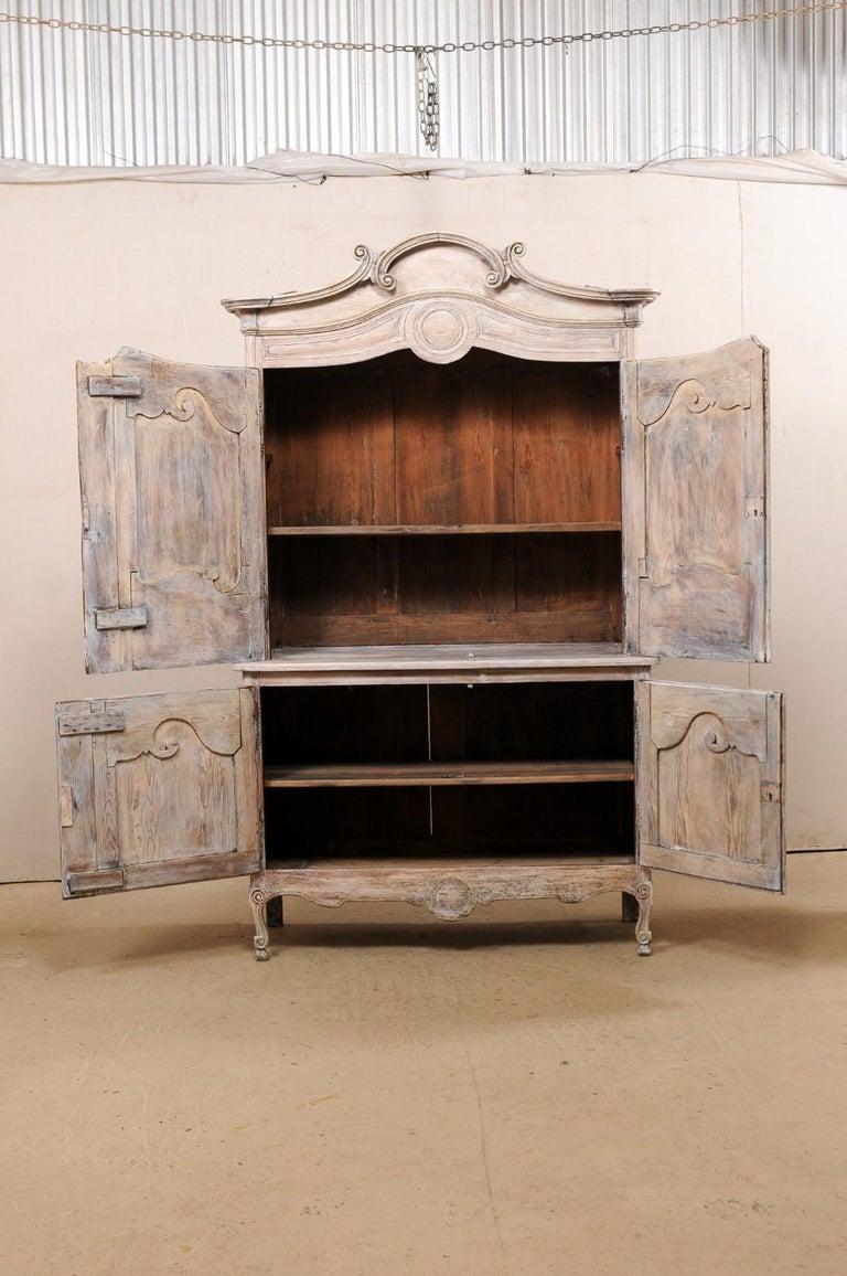 Early 19th C. French Buffet à Deux-Corps Cabinet w/ Scrolling Pediment Bonnet For Sale 8