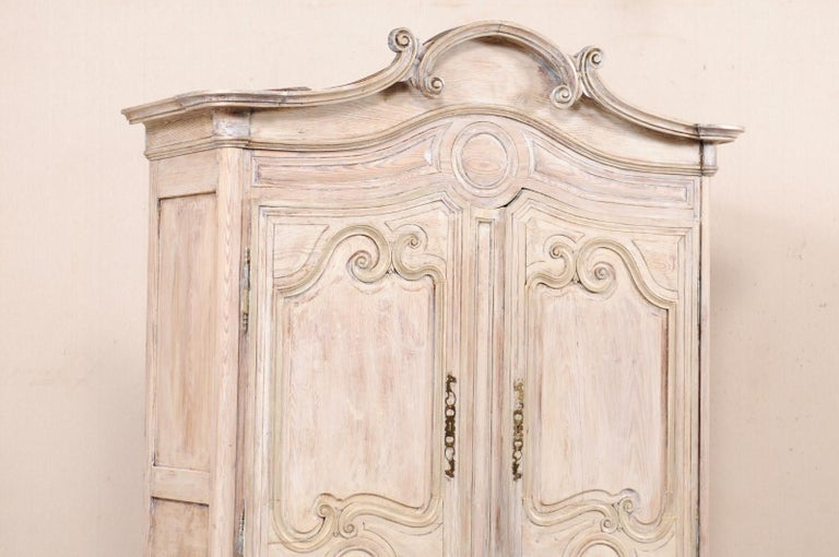 Early 19th C. French Buffet à Deux-Corps Cabinet w/ Scrolling Pediment Bonnet In Good Condition For Sale In Atlanta, GA