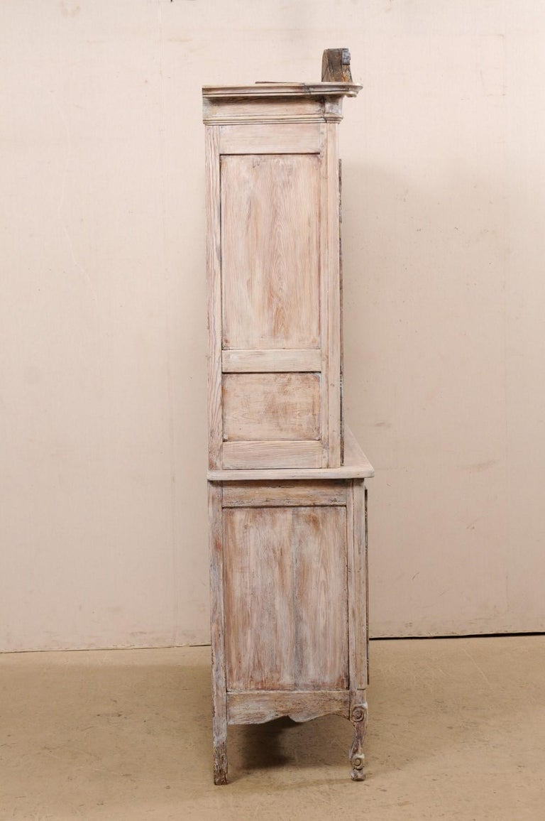 Wood Early 19th C. French Buffet à Deux-Corps Cabinet w/ Scrolling Pediment Bonnet For Sale