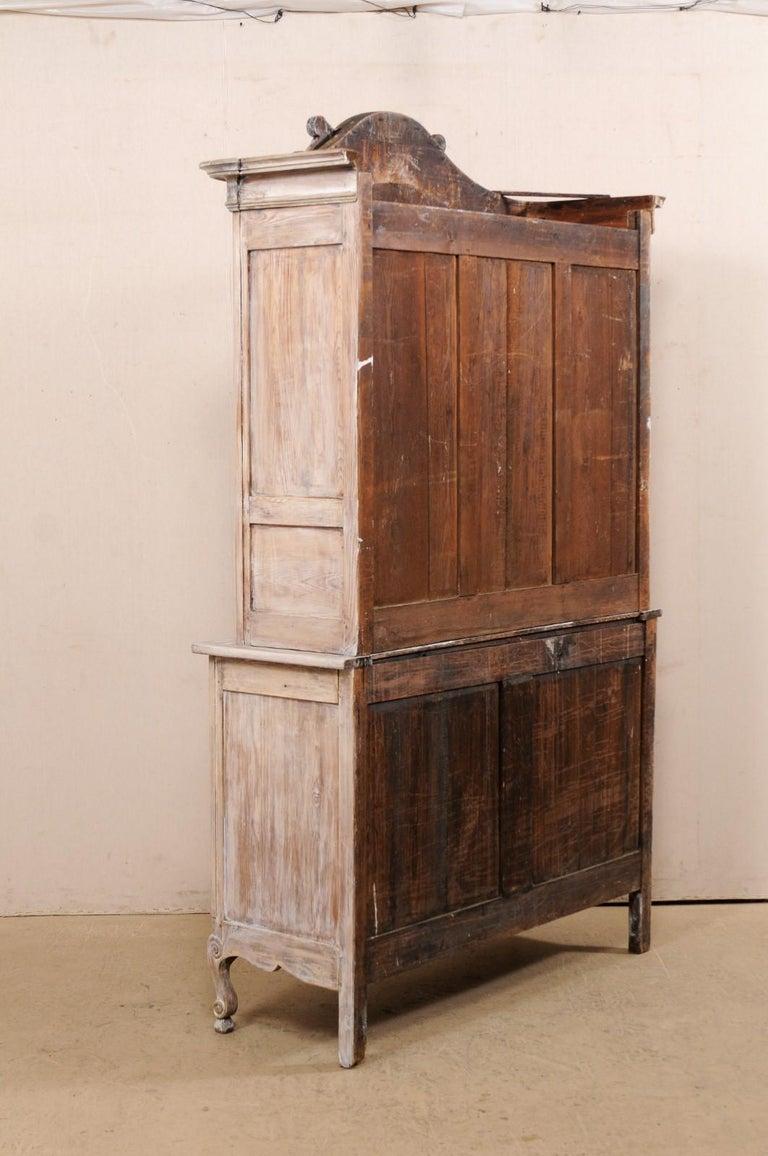 Early 19th C. French Buffet à Deux-Corps Cabinet w/ Scrolling Pediment Bonnet For Sale 3
