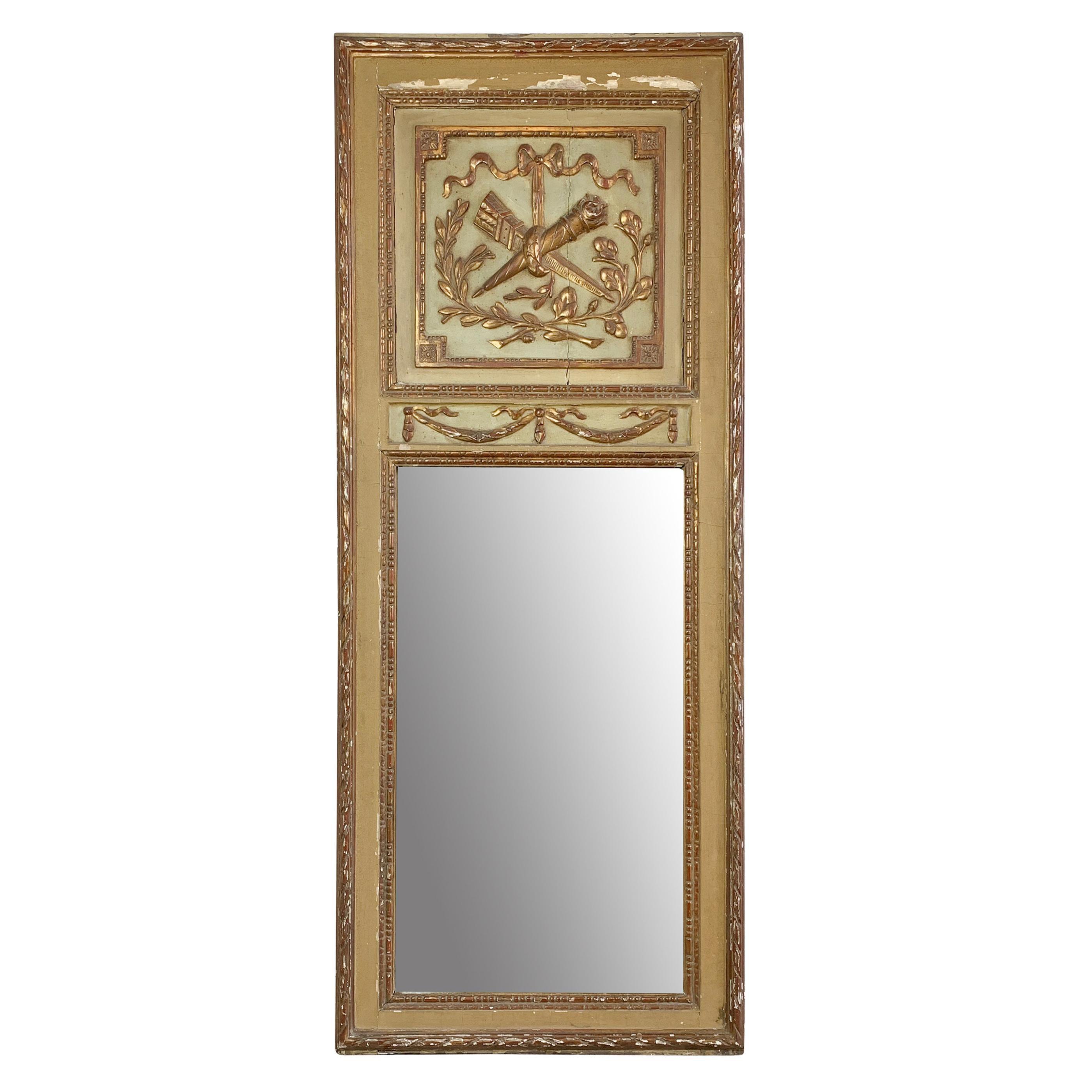 Early 19th C French Gilt Trumeau Mirror