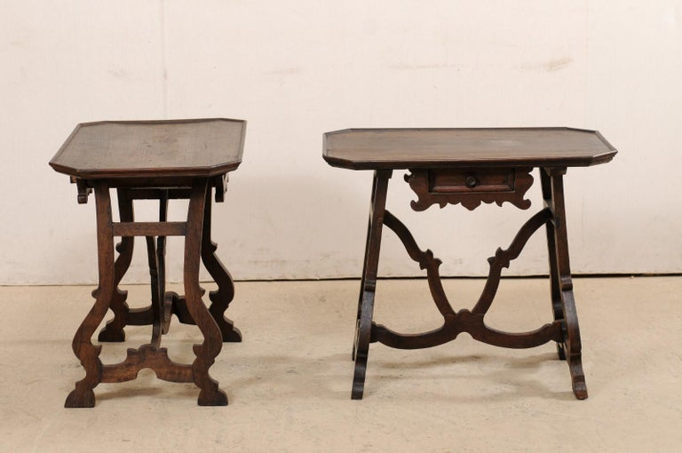 19th Century Early 19th C Italian Pair Walnut Side Tables with Lrye-Legs and Single Drawer For Sale