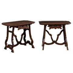 Early 19th C Italian Pair Walnut Side Tables with Lrye-Legs and Single Drawer
