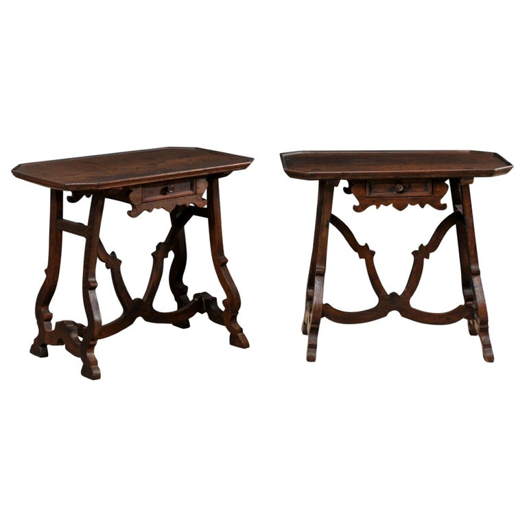 Early 19th C Italian Pair Walnut Side Tables with Lrye-Legs and Single Drawer For Sale