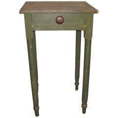 Early 19th Century Primitive 1 Drawer Stand in Old Green Paint