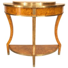Russian Neoclassic Birch and Brass Demilune Console Table