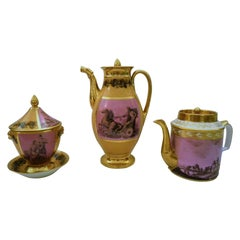 Early 19th Century Stone Coquerel Legros Paris Porcelain, Coffee, Tea and Sugar