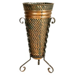 Early 19th C. Umbrella Stand in Hand Embossed Tyrolean Copper & Wrought Iron