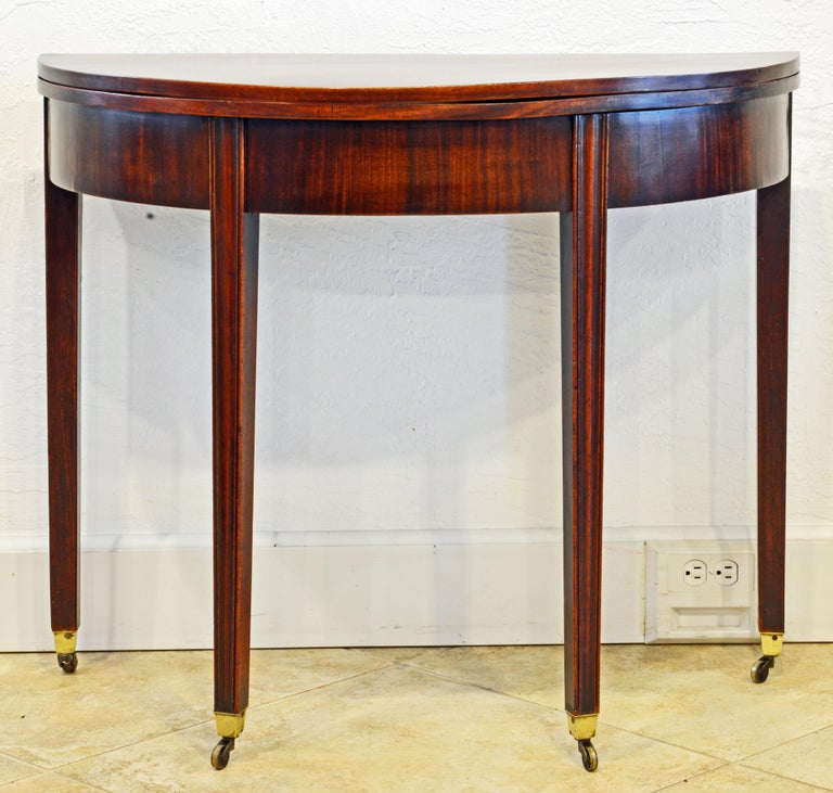 Early 19th Century English Georgian Mahogany Demi Lune Folding Top Game Table In Good Condition In Ft. Lauderdale, FL