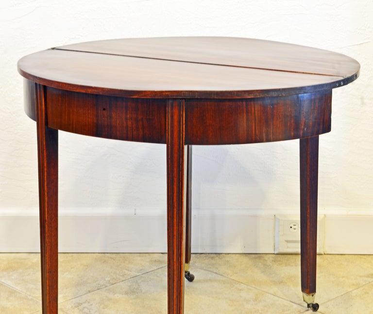 Early 19th Century English Georgian Mahogany Demi Lune Folding Top Game Table 1