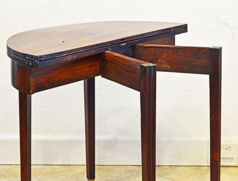 Early 19th Century English Georgian Mahogany Demi Lune Folding Top Game Table 2