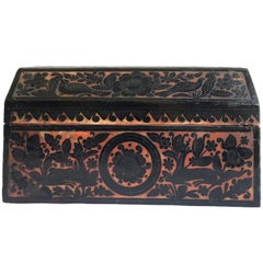 Early 19th Century American Carved Lacquered Folk Art Wooden Box from Tennessee