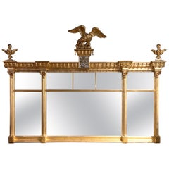 Early 19th Century American Federal Gilt Overmantel Mirror
