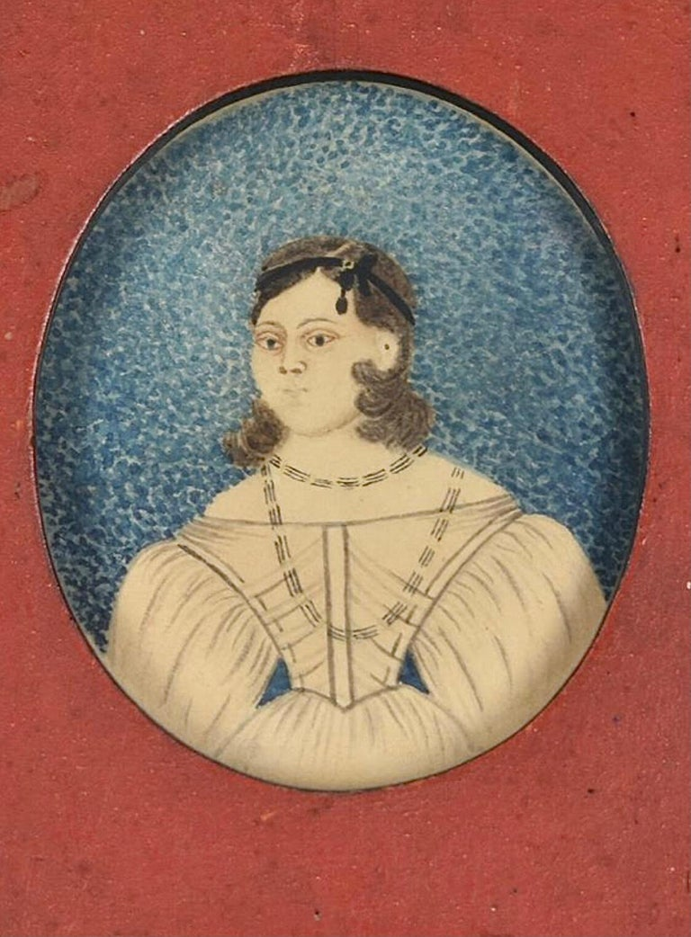 North American Early 19th Century American Folk Art Painting of a Young Lady For Sale