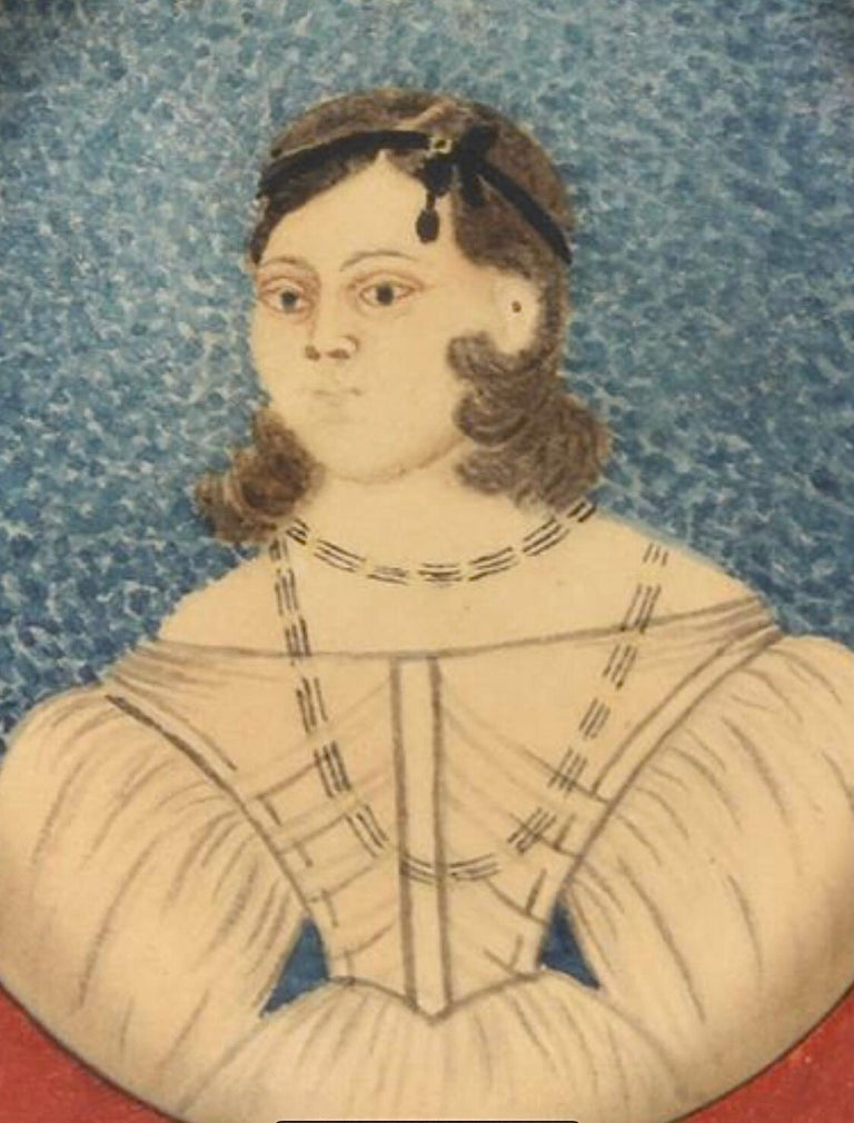 Early 19th Century American Folk Art Painting of a Young Lady In Good Condition For Sale In Boulder, CO