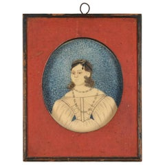 Early 19th Century American Folk Art Painting of a Young Lady