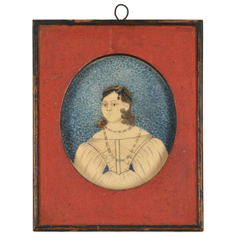 Early 19th Century American Folk Art Painting of a Young Lady For Sale