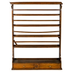 Early 19th Century American Mahogany Plate Rack with Two Drawers