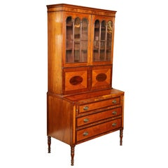 Early 19th Century American Sheraton 2 Part Secretary of Mahogany & Tiger Maple