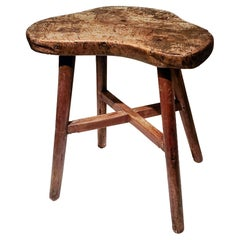 Early 19th Century American Stool in Old Red Wash