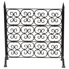 1920s Spanish Wrought Iron Free Standing Fireplace Screen