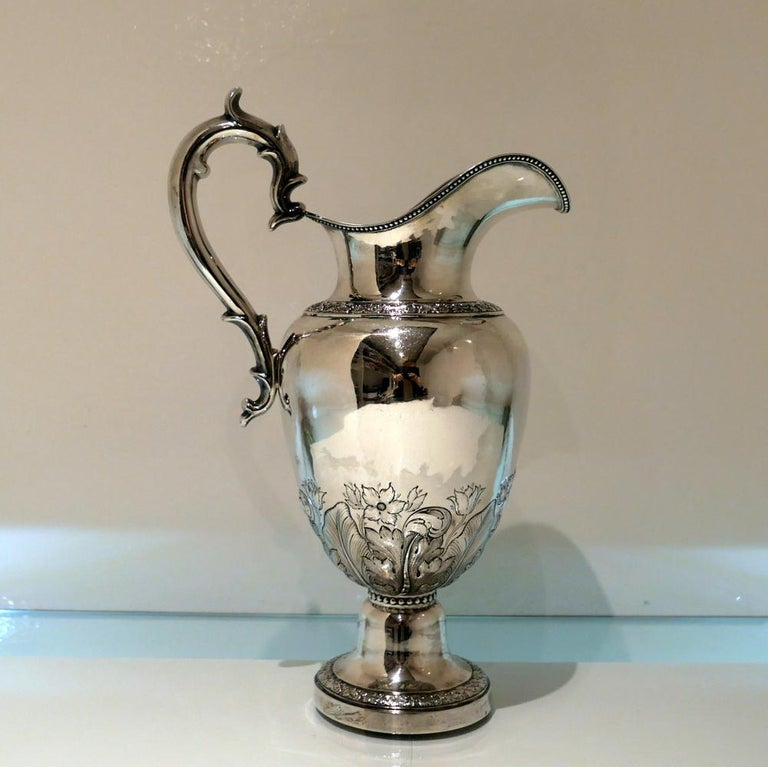 Early 19th Century Antique American Sterling Silver Pitcher New York, circa 1836 For Sale 5