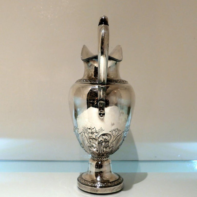Mid-19th Century Early 19th Century Antique American Sterling Silver Pitcher New York, circa 1836 For Sale