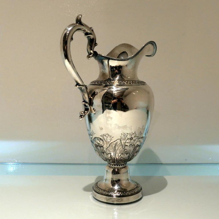 Early 19th Century Antique American Sterling Silver Pitcher New York, circa 1836 For Sale 1