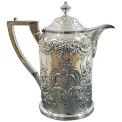 Early 19th Century Antique English Sterling Silver Hot Water Jug, London, 1809