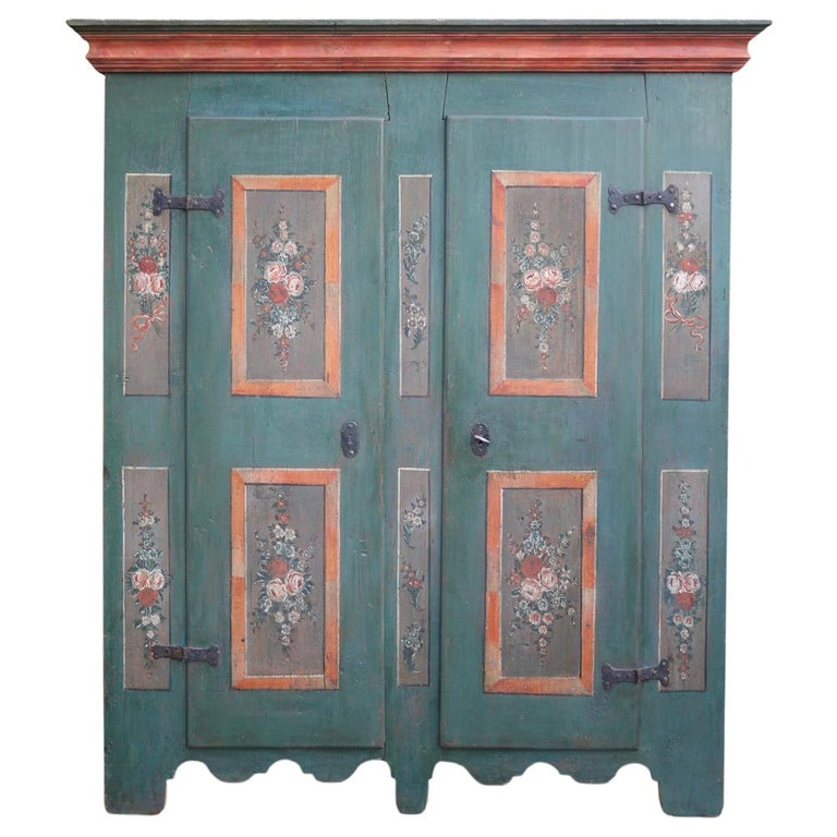 Early 19th Century Antique Floral Hand Painted Two Doors Wardrobe For Sale