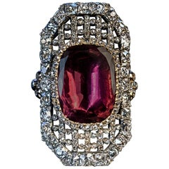 Early 19th Century Antique Garnet Diamond Openwork Ring