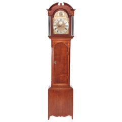 Early 19th Century Antique George III Oak Brass Face 8 Day Grandfather Clock