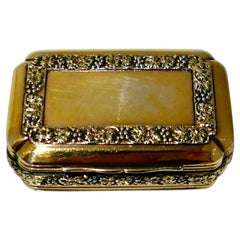 Early 19th Century Antique George III Sterling Silver Gilt Snuff Box London 1814