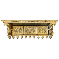 Early 19th Century Antique Gilded Hand-Carved Wood Italian Wall Shelf